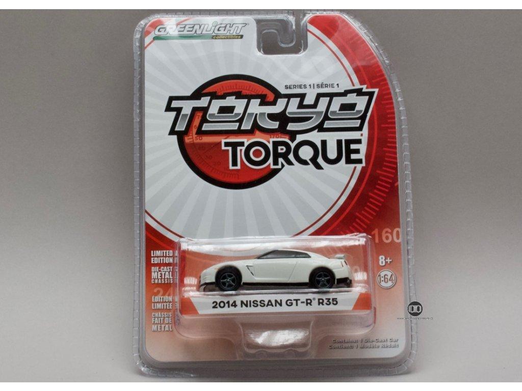 Nissan GT-R R35 2014 bílá 1:64 Greenlight