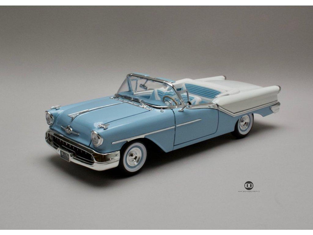 Oldsmobile Super 88 1957 convertible modro-bílá 1:18 Yat Ming