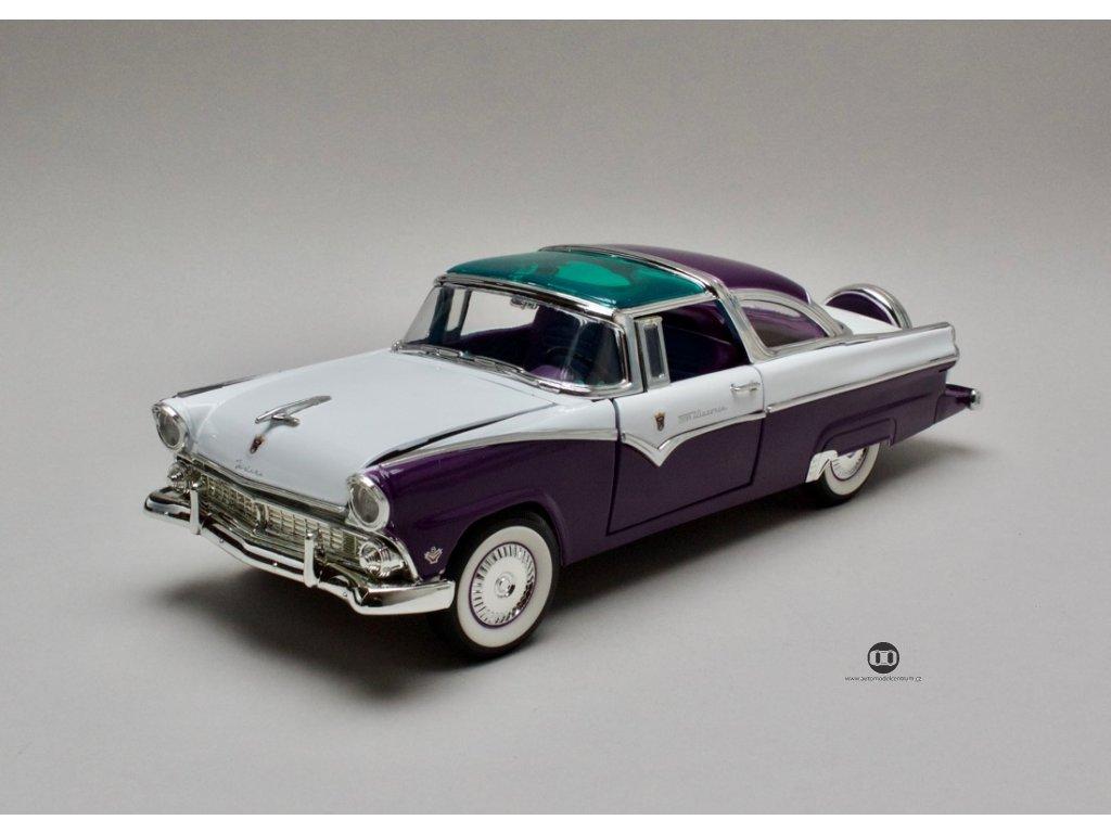Ford Fairlane Crown Victoria 1955 fialovo-bílá 1:18 Lucky Die Cast