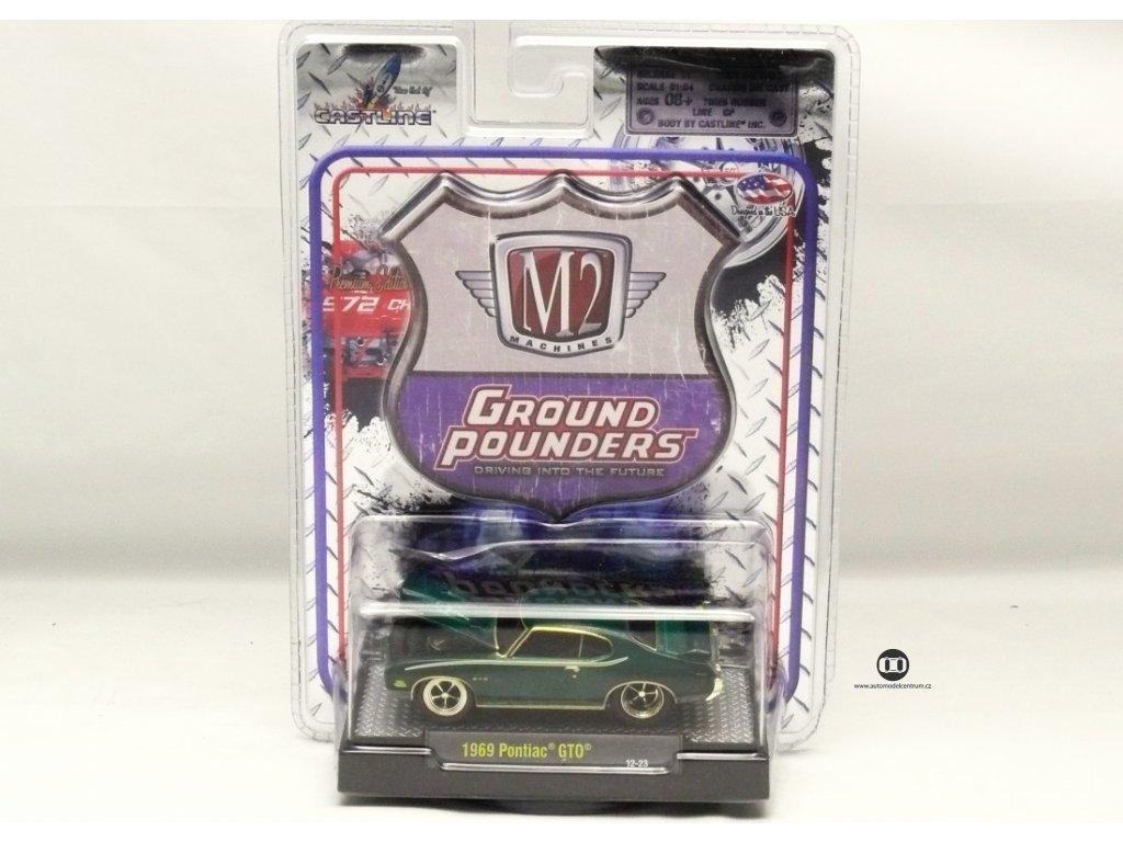 Pontiac GTO 1969 tmavě zelená 1:64 M2 Machines