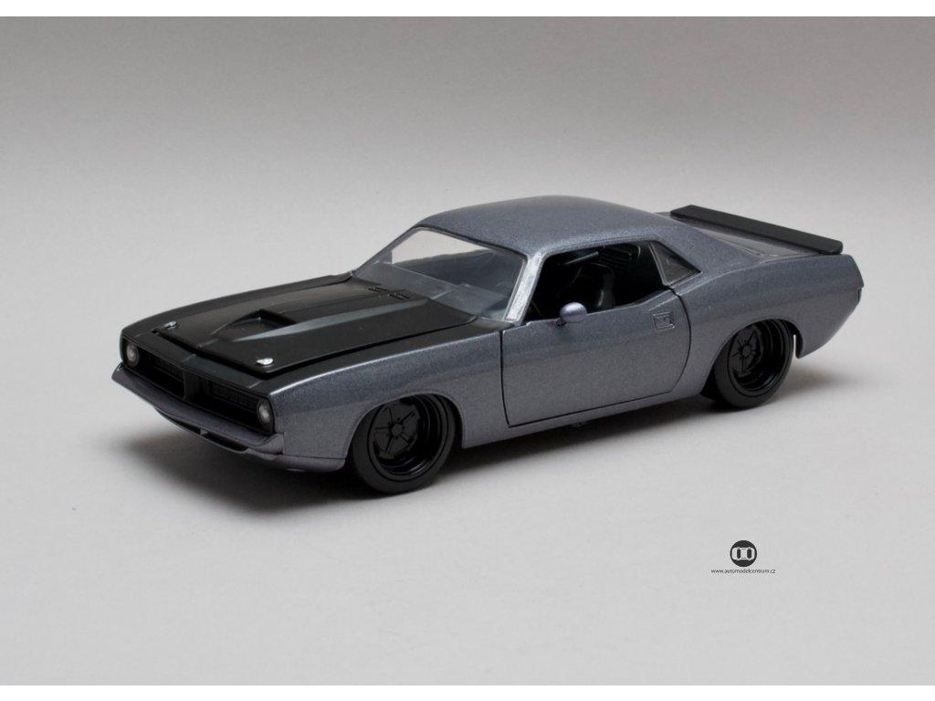 Plymouth Barracuda 1973 šedá 1:24 Jada Toys
