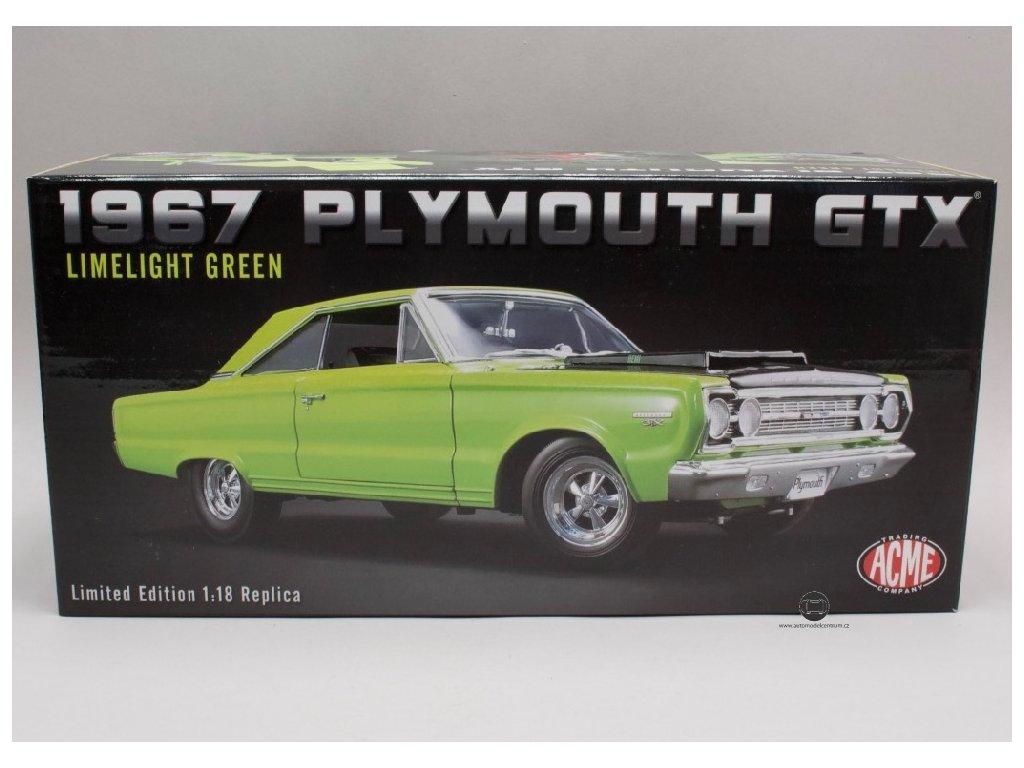 Plymouth Hemi GTX 1967 Limelight green zeleno cerna 1 18 ACME 1806703 01