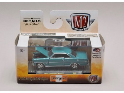 Chevrolet Nova 1967 tyrkysová 1 64 M2 Machines 32600 R48 01