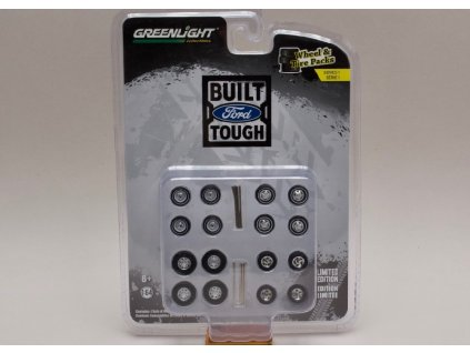 Sada kol+pneu+hřídelky %22Built Ford Tough%22 1 64 Greenlight 16010 B 01