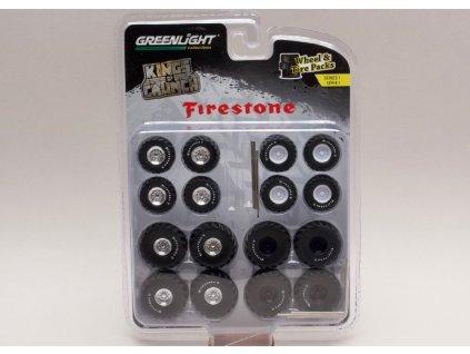 Sada kol+pneu+hřídelky %22Kings of Crunch Firestone%22 1 64 Greenlight 16010 A 01