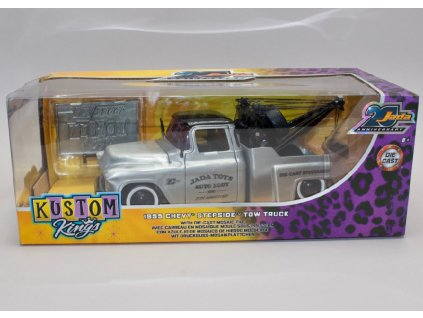 Chevrolet Stepside1955 Tow Truck 20th anniversary series leštěný kov černá 1 24 Jada Toys 45002 01