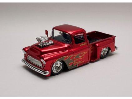 Chevrolet Stepside 1955 Pick Up chromověčervená+plameny 1 24 Jada Toys 30713 01