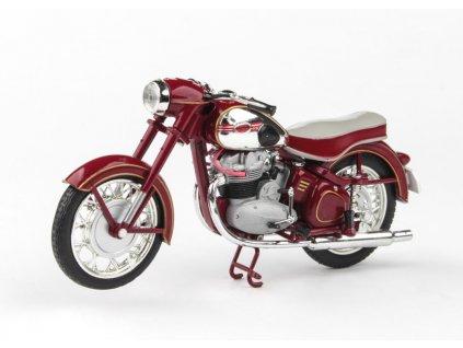 Jawa 500 OHC 1956 tmavě červená (sedlo červeno bílé) 1 18 Abrex 100118M 012 1 01