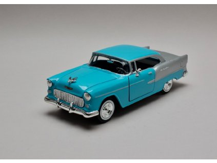 Chevrolet Bel Air 1955 modro stříbrná 1 24 Motor Max 73229 01