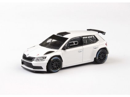 Škoda Fabia 2015 III R5 bílá šotolinová kola černá 1 43 Abrex 143XAB 605E2g 01