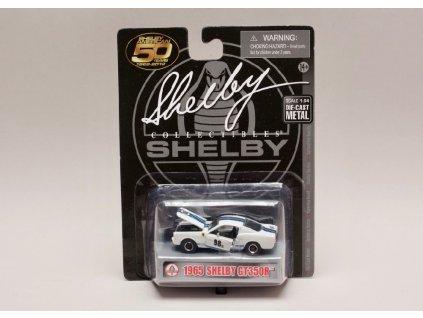 Shelby GT350 R 1965 #98 bílá modré pruhy 1 64 Shelby Collectibles 01