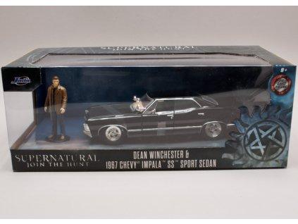 Chevrolet Impala SS Sport sedan 1967 + figurka %22Dean Winchester%22 Supernatural 1 24 Jada Toys 31250 01