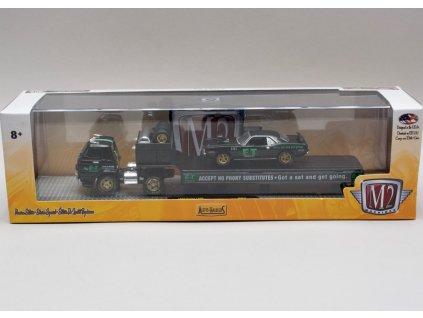 Dodge L600 1969 černá + Plymouth Hemi Cuda 1971 1:64 M2 Machines