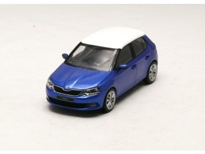 Škoda Fabia III Htb modrá - bílá střecha 1:43 i-scale