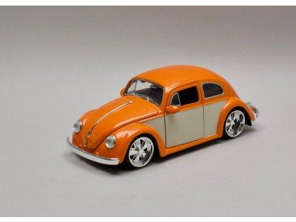 Volkswagen Beetle 1959 oranžová-bílá 1:24 Jada Toys