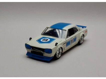 Nissan Skyline GT-R 1971 KPGC10 #8 bílo-modrá 1:24 Jada Toys