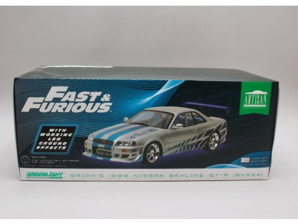 Nissan Skyline GT-R R34 1999 Brian's Rychle a zb 2 Neon LED 1:18 Greenlight