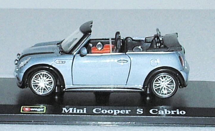 Mini Cooper S Cabrio - tuning metalíza modrá 1:32 Bburago