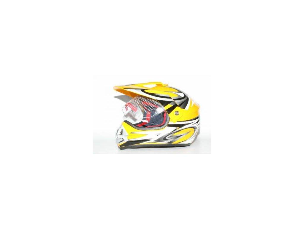 Přilba MOTOWELL CR6 žlutá enduro s plexi