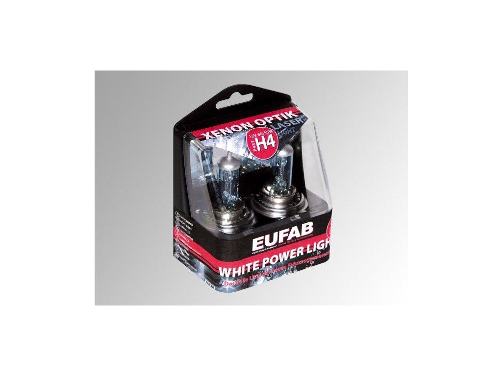 Autožárovky H4, White Power Light, 2 ks v plastové krabičce EUFAB