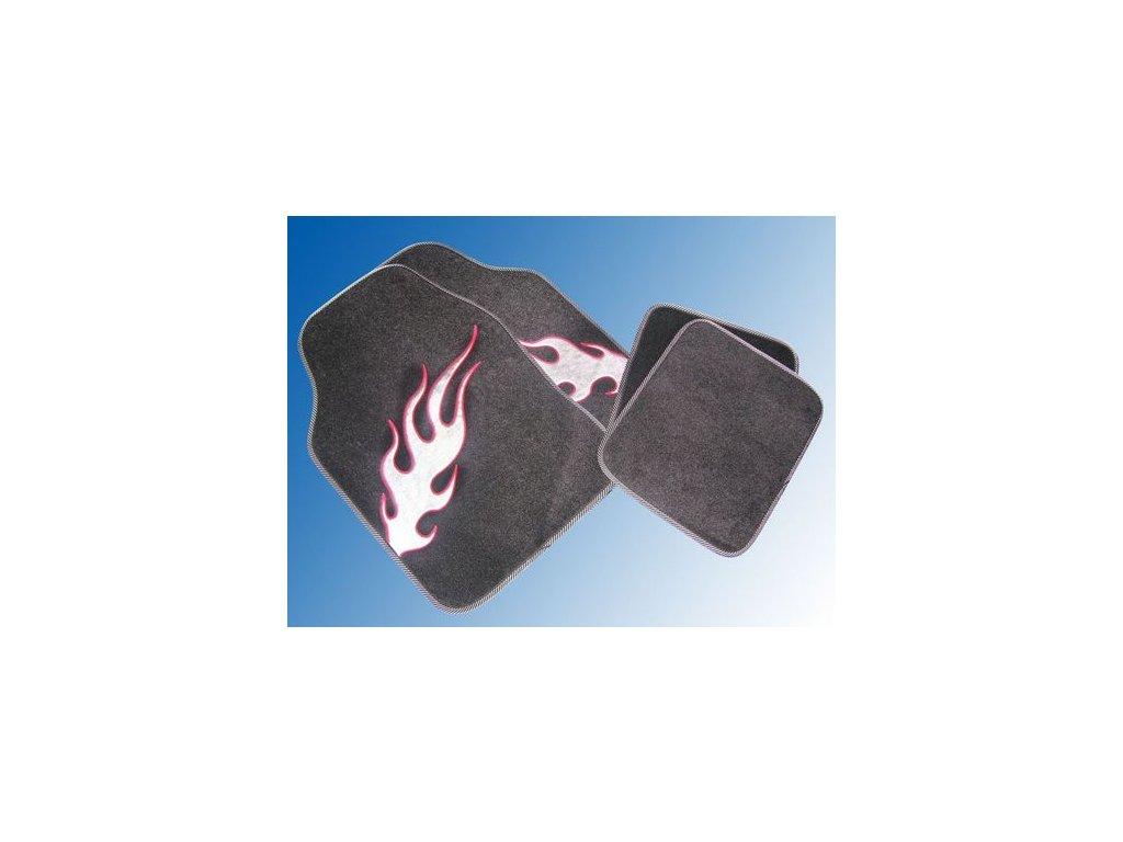 Koberce textilní UNI FLAME stříbrno-červený plamen EUFAB (28227)
