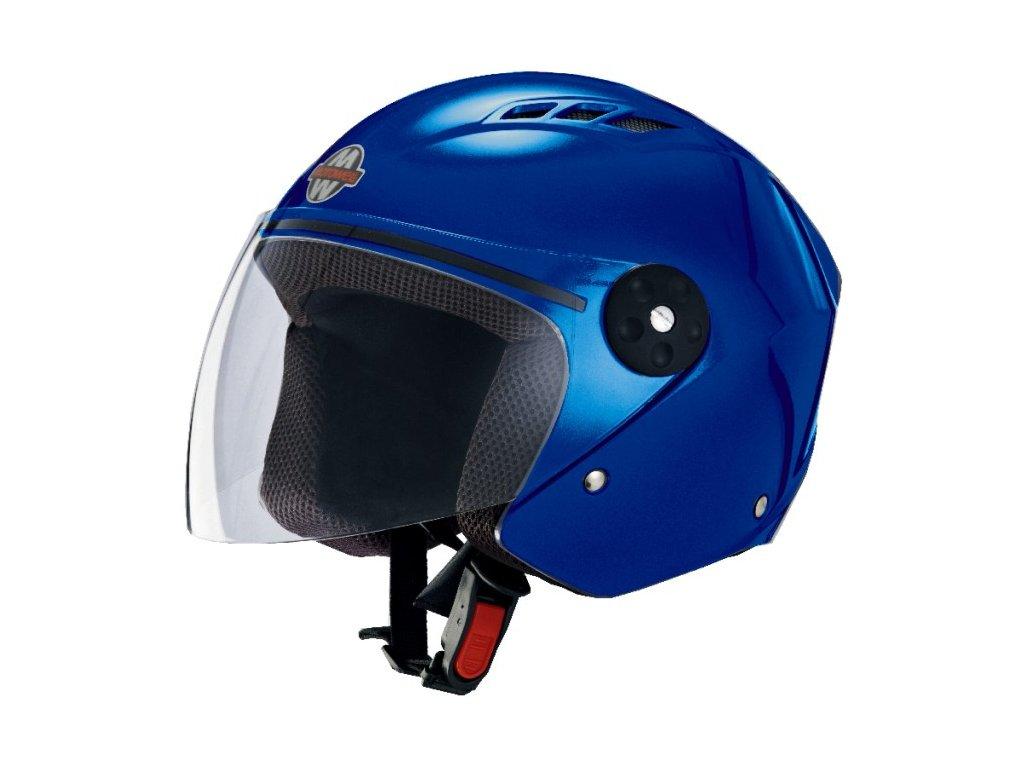 Přilba MOTOWELL OF3 modrá lesklá otevřená s plexisklem