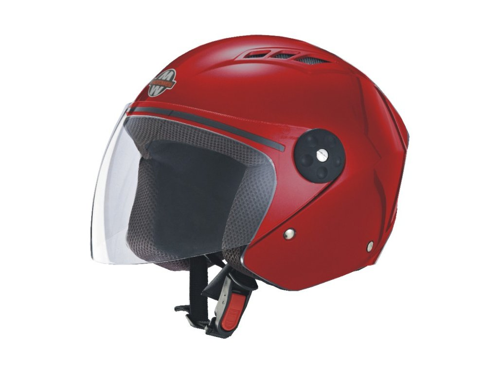 Přilba MOTOWELL OF3 červená lesklá otevřená s plexisklem