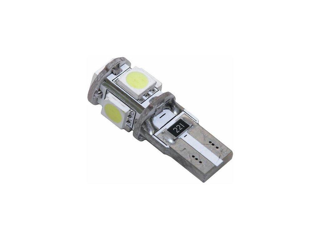 Žárovka 5 SMD LED 12V T10 s rezistorem CAN-BUS ready bílá