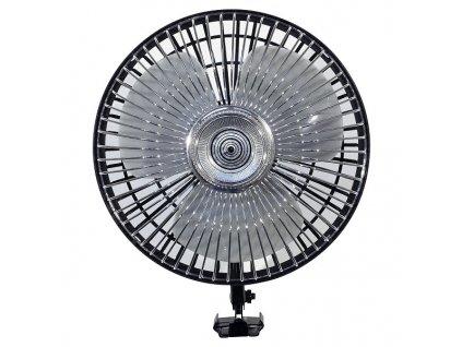 Ventilátor 12 V otočný, chrom / bílý