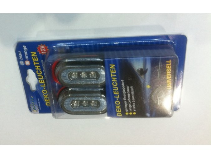 Světlo směrové boční 12V 3 LED sada modré ovál malé  EUFAB / DE