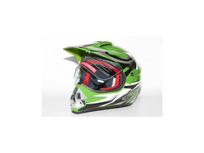 Přilba MOTOWELL CR6 zelená enduro s plexi