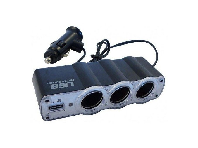 Rozbočka 12V 3x + USB CAR