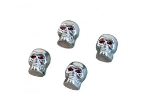 Ozdobné kryty ventilků lebka chrom/červená