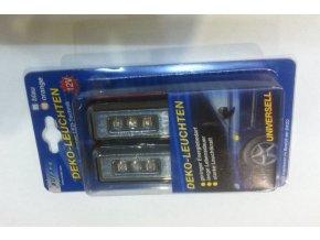 Světlo směrové boční 12V 3 LED sada modré hranaté  EUFAB / DE