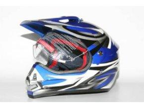 Přilba MOTOWELL CR6 modrá enduro s plexi