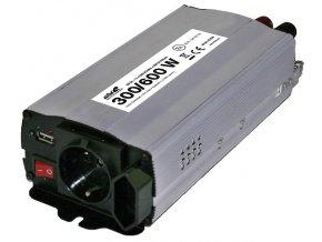 Měnič napětí 12V/230V/300W/600W + USB