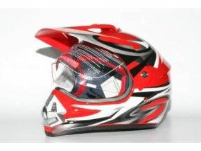 Přilba MOTOWELL CR6 červená enduro s plexi