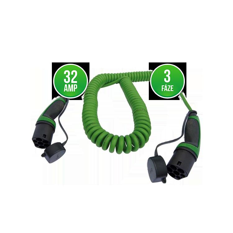 Prémiový nabíjecí kabel Mennekes 32A | 3 fáze | do 22 kW Délka kabelu: 4 metry, Barva: Zelená