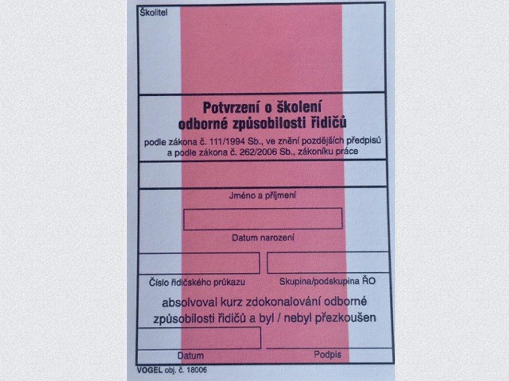 Potvrzení o školení řidičů-referentů