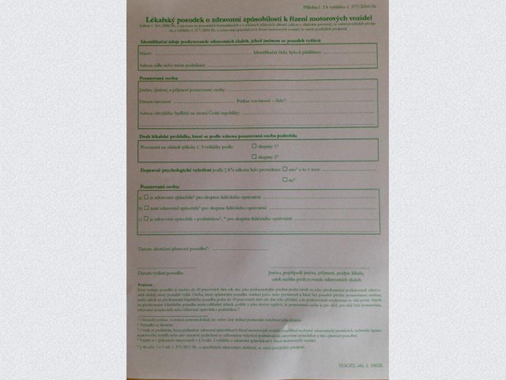 Posudek zdravotní způsobilosti - Aktuální k 1.9.2020!