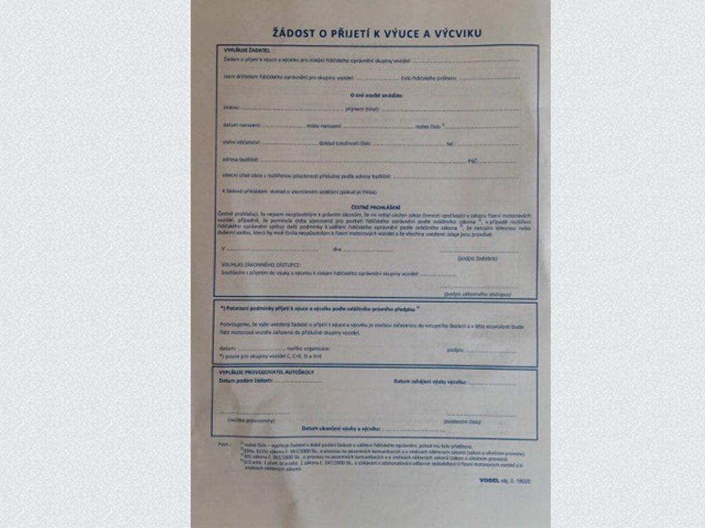 Žádost o řidičské oprávnění - Nová k 1.3.2021
