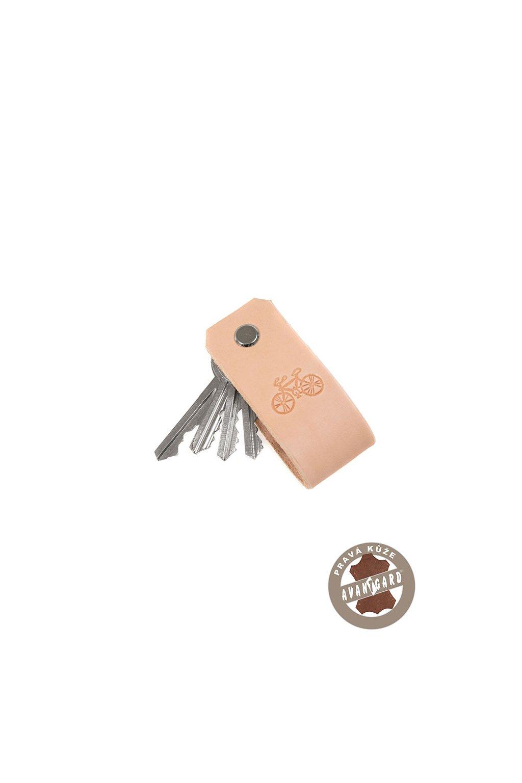 Klíčenka z pravé kůže s ražbou kola, 805-1205, Béžová/kolo