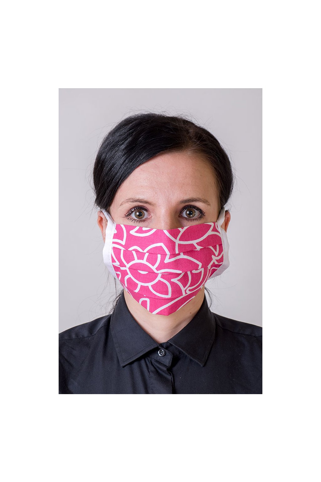 Bavlněná rouška na ústa a nos dvouvrstvá skládaná s kapsou, se šňůrami z keprové stuhy, 797-149, Růžová