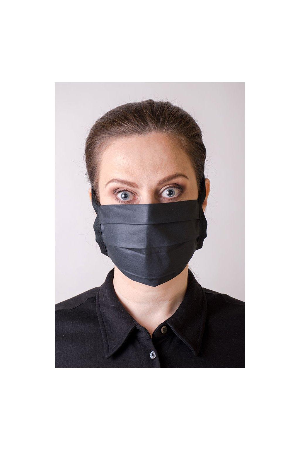 Bavlněná rouška na ústa a nos jednovrstvá, šňůry z keprové stuhy, antibakteriální SILVER+, 792-199, Černá