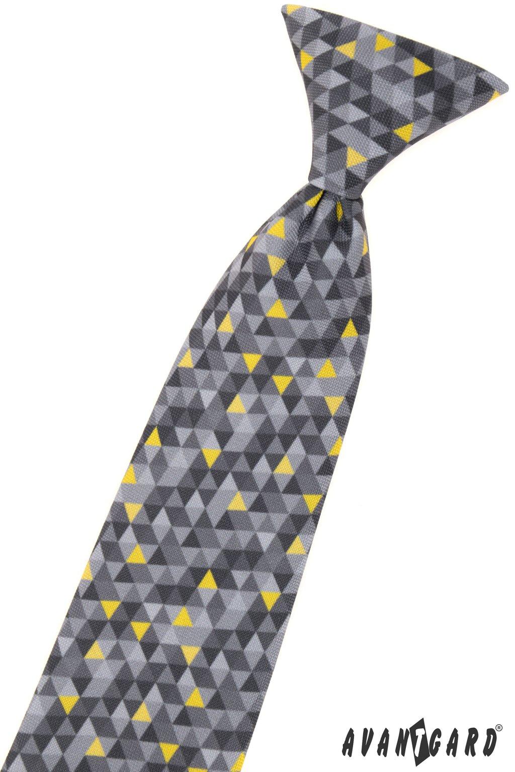 Chlapecká kravata, 558-2021, Šedá/žlutá, barva roku 2021