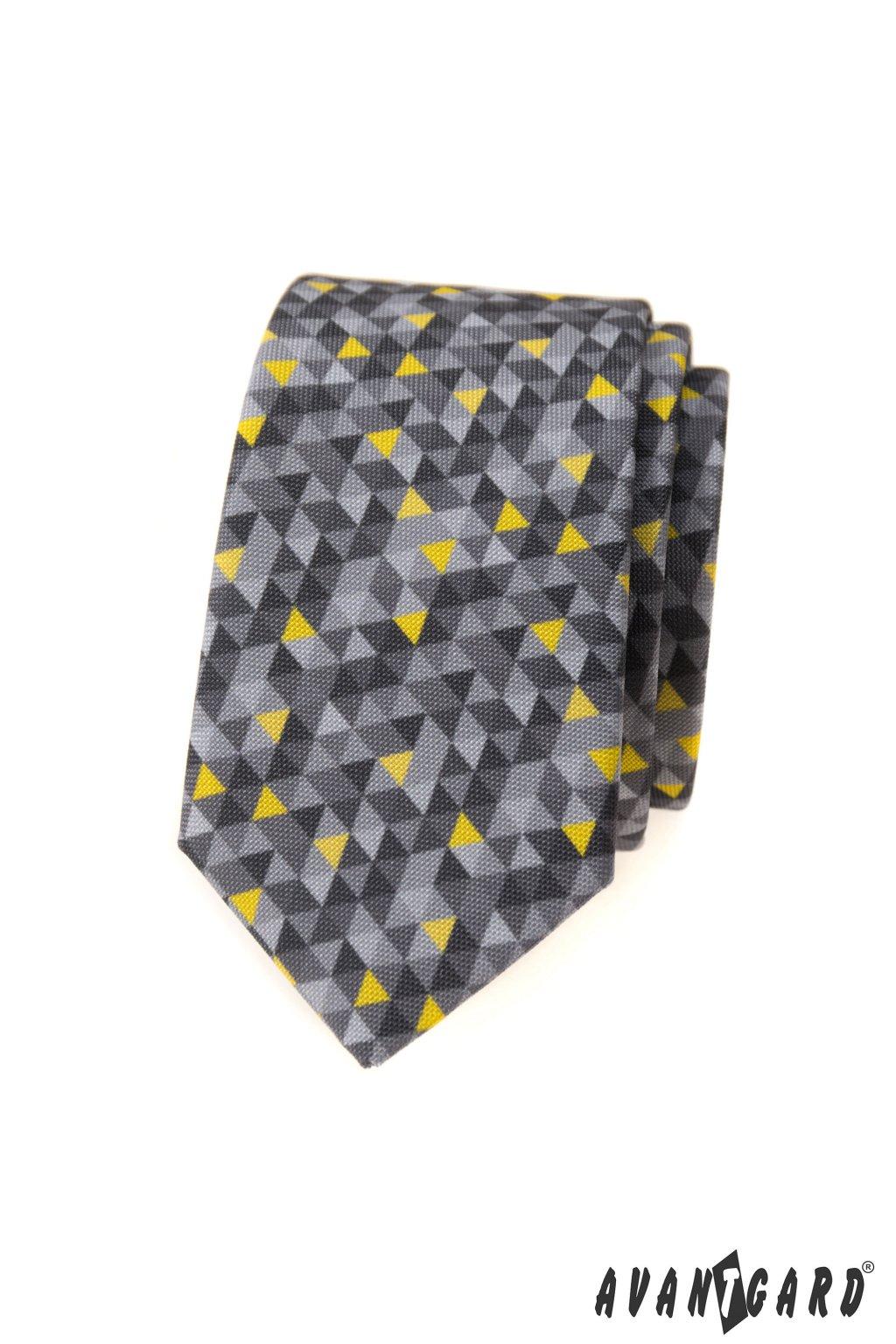 Kravata SLIM LUX, 571-2021, Šedá/žlutá, barva roku 2021