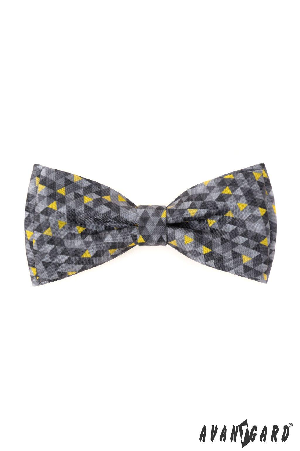 Motýlek s kapesníčkem, 575-2021, Šedá/žlutá, barva roku 2021