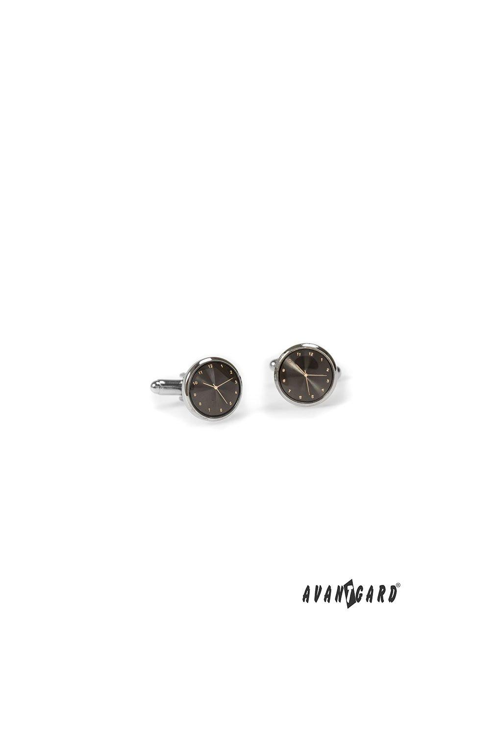 Manžetové knoflíčky CLOCK, 573-20530, Stříbrná lesk/grafitová