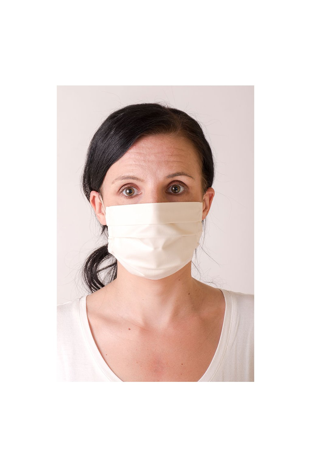 Dámská bavlněná rouška na ústa a nos dvouvrstvá, ouška z gumičky, antibakteriální SILVER+, 791-2, Smetanová