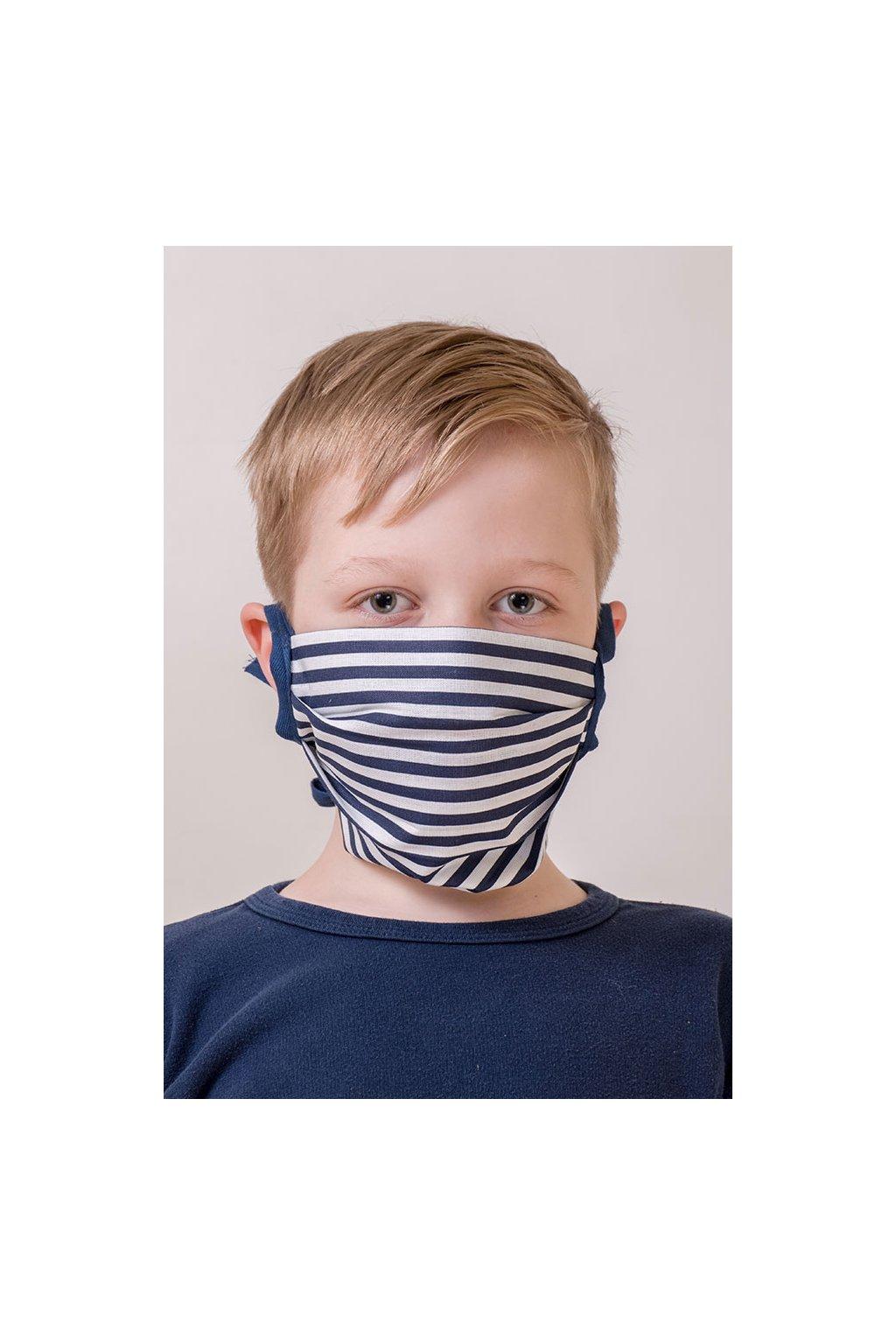 Dětská bavlněná rouška na ústa a nos dvouvrstvá skládaná s kapsou, šňůry z keprové stuhy, 787-200, Bílá/modrá